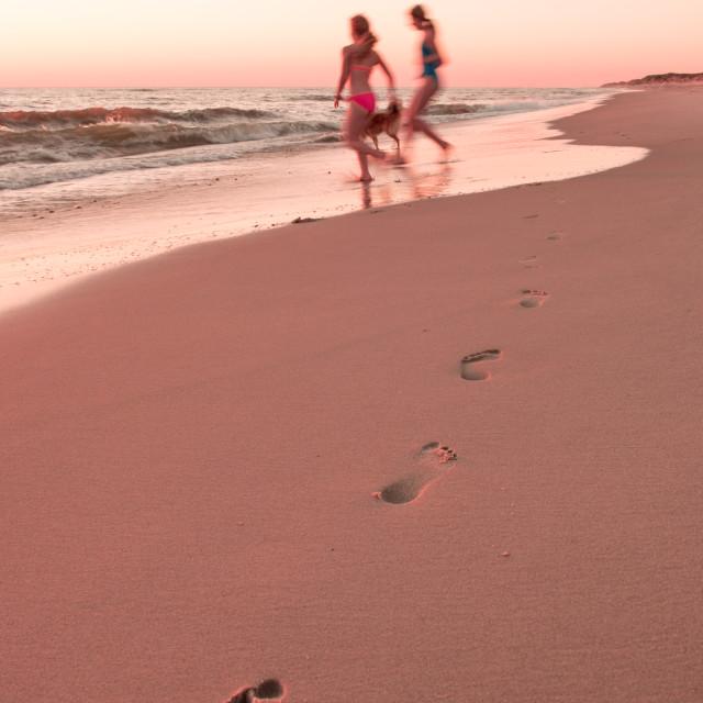"""Girls on the beach"" stock image"