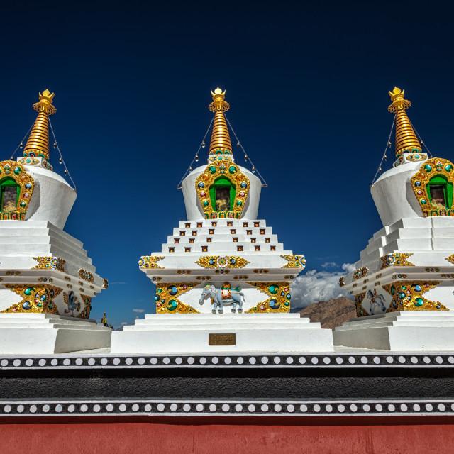 """""""White chortens stupas in Ladakh, India"""" stock image"""