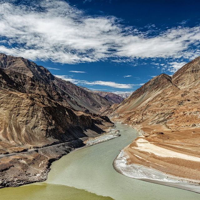 """Confluence of Indus and Zanskar Rivers, Ladakh"" stock image"