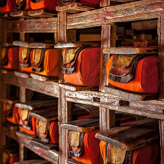 """Manuscripts folios in Tibetan Buddhist monastery"" stock image"