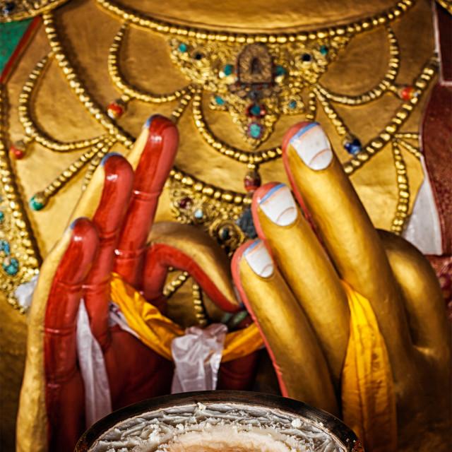 """Maitreya Buddha in Thiksey Gompa"" stock image"