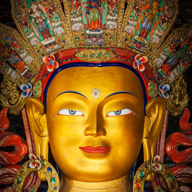 """Maitreya Buddha in Thiksey Gompa, Ladakh"" stock image"