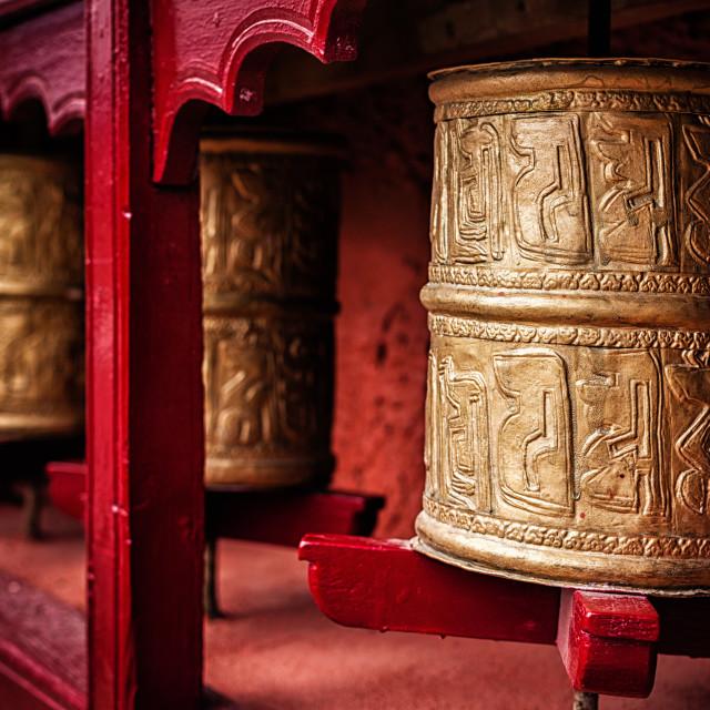 """Buddhist prayer wheels , Ladakh"" stock image"