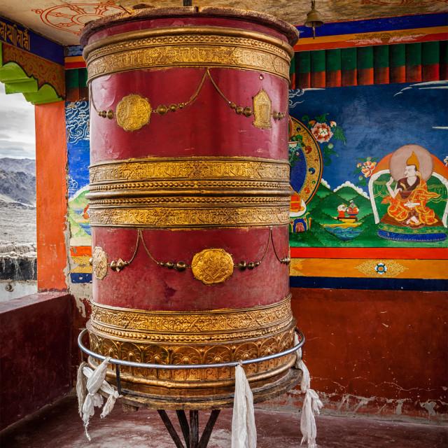 """Tibetan Buddhist prayer wheel, Ladakh"" stock image"
