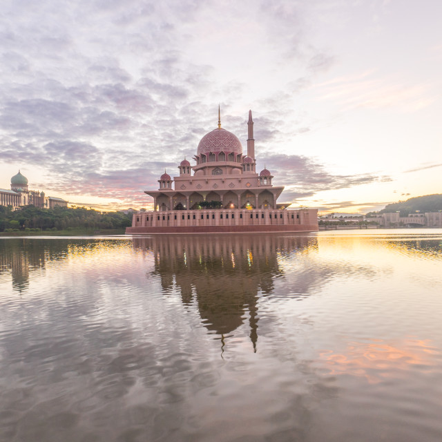 """beautiful sunrise At Putra Mosque, Putrajaya Malaysia with color"" stock image"