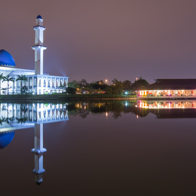 """UNITEN Mosque at night with reflection"" stock image"