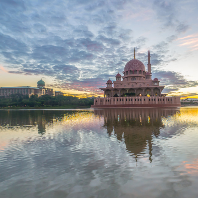 """beautiful sunrise At Putra Mosque, Putrajaya Malaysia with color"" stock image"
