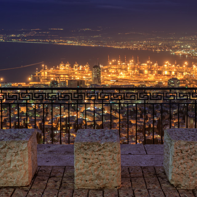 """Haifa View at night from the Louis Promenade"" stock image"