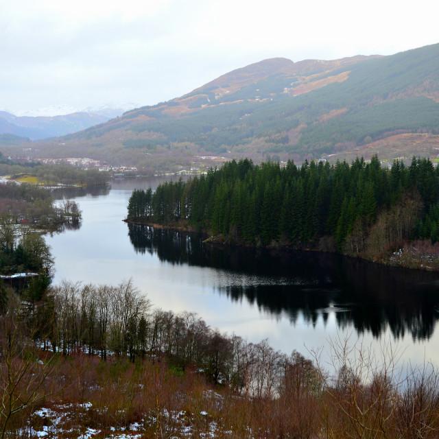"""""""Birdseye View of Loch Ard"""" stock image"""