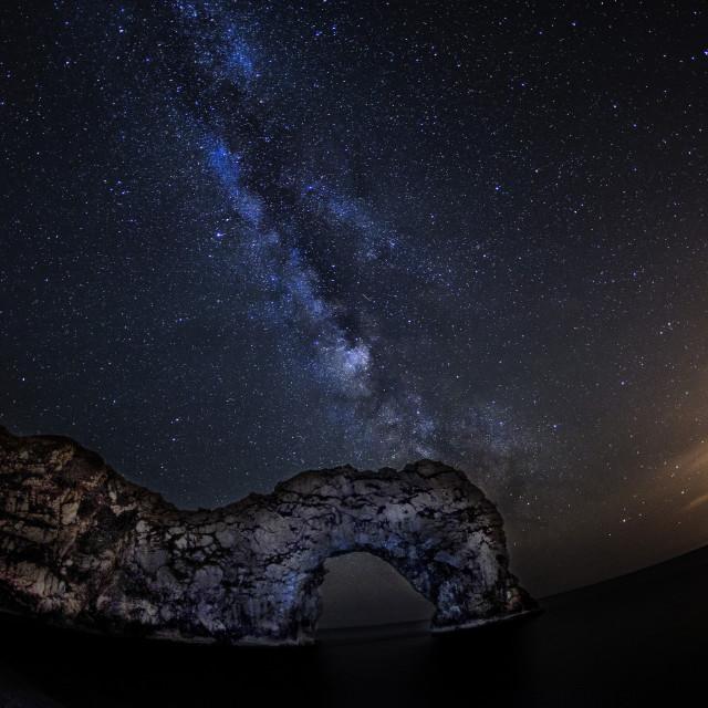 """""""Milky Way over Durdle Door"""" stock image"""