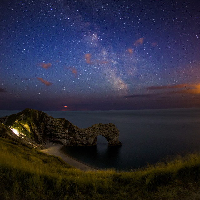 """Milky Way over Durdle Door"" stock image"