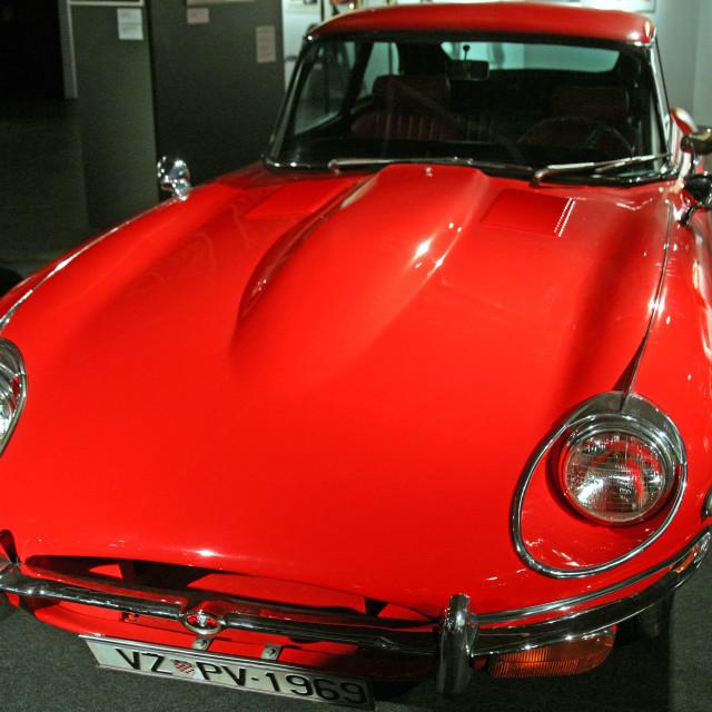 """Jaguar E Type Ser 2,1969., Expo at Tech museum Zagreb,2016."" stock image"