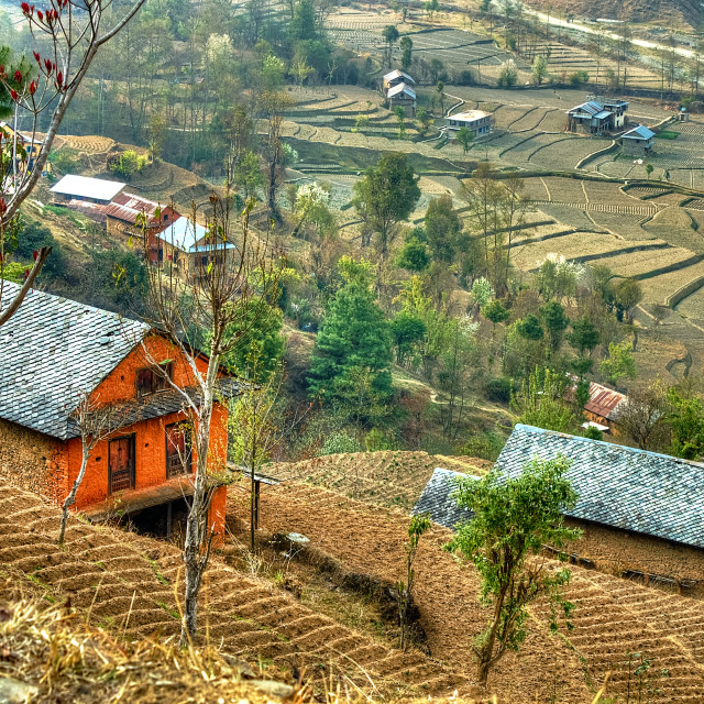 """Nepalese hill village"" stock image"