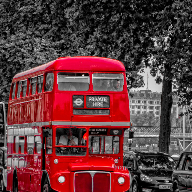 """Red London bus"" stock image"
