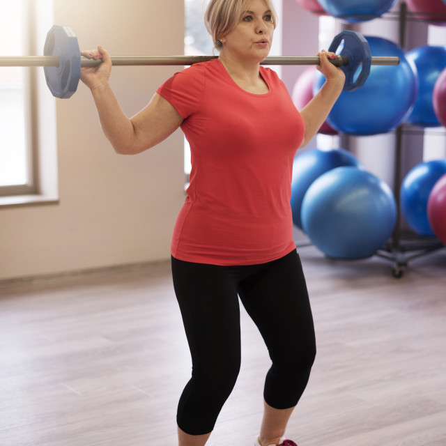 """""""Mature woman at fitness centre"""" stock image"""