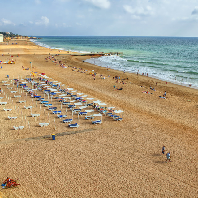 """""""People on the beach of Albufeira in Portugal"""" stock image"""