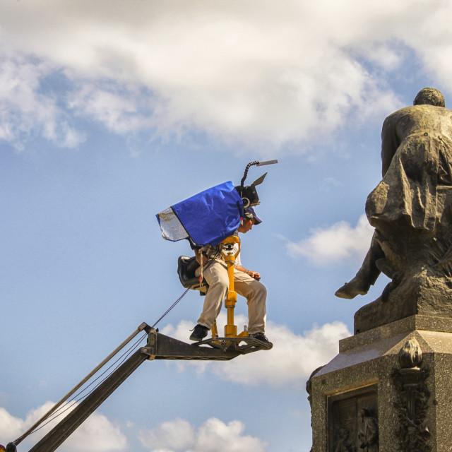 """Camera man on a crane"" stock image"
