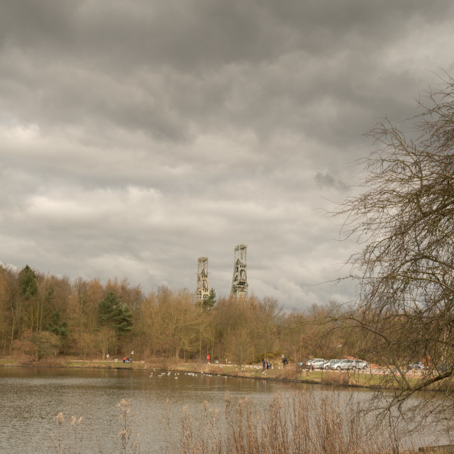 """""""Clipstone Colliery on the lake"""" stock image"""