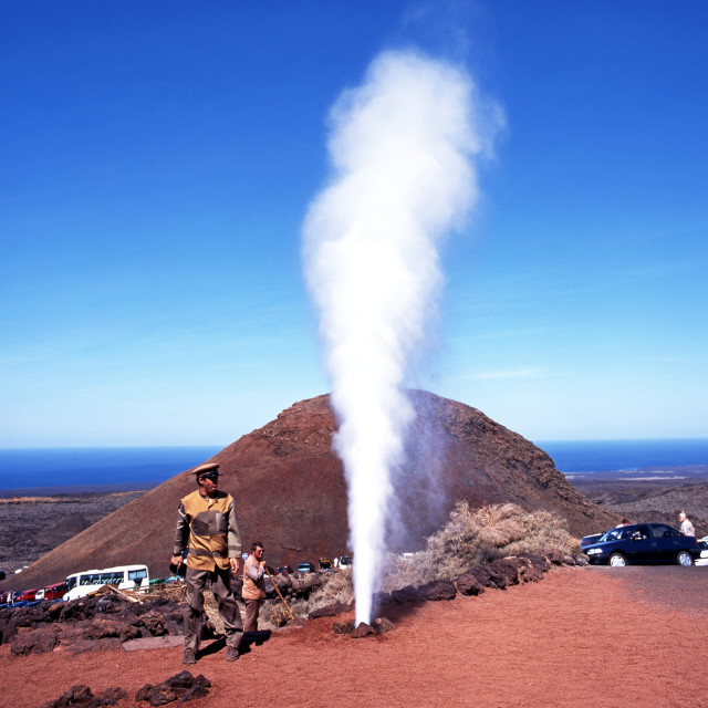 """""""Steaming bore hole, Lanzarote, Canary islands"""" stock image"""