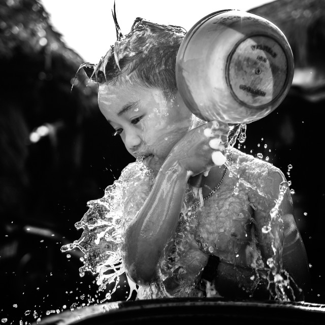 """children bathing with splash water effect"" stock image"