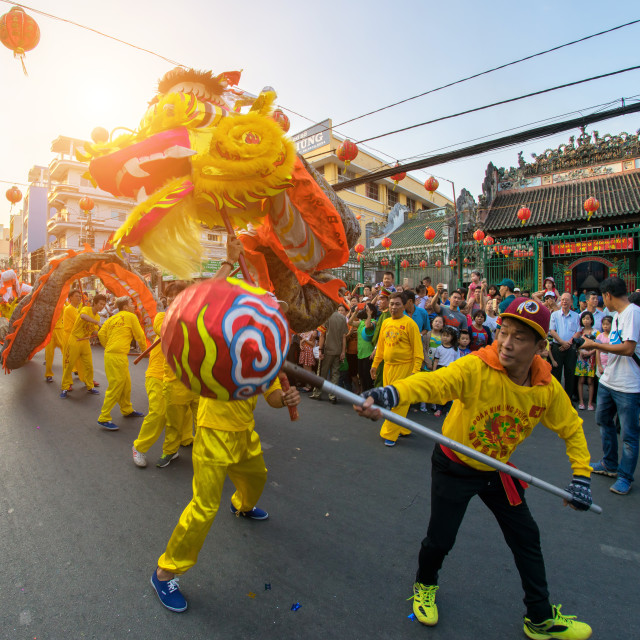 """Lunar New Year dragon dancing"" stock image"