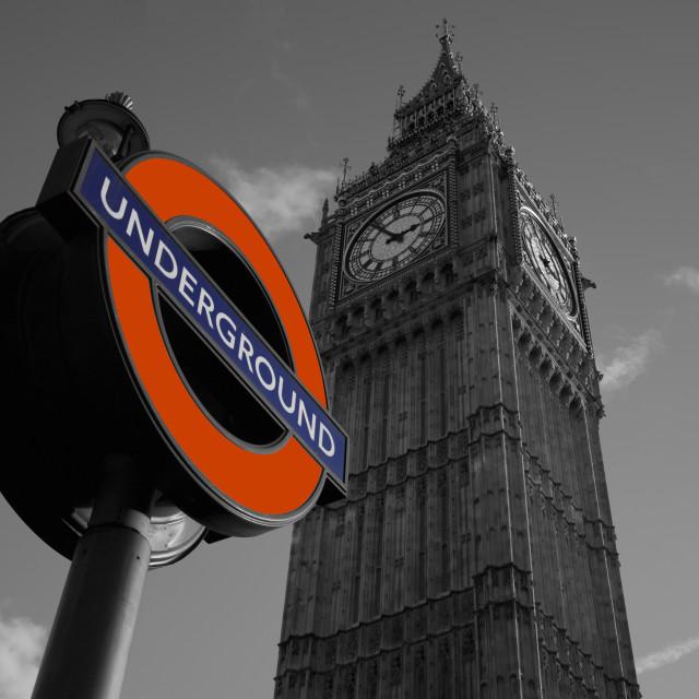 """Big Ben with Underground Sign"" stock image"
