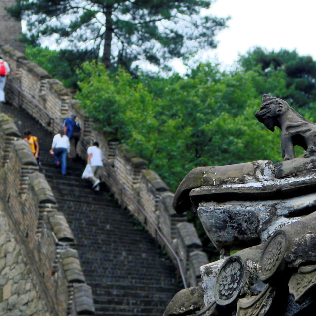 """Tourists on Great Wall of China Overlooked by Watch Tower Guard - Mutianya, near Beijing"" stock image"