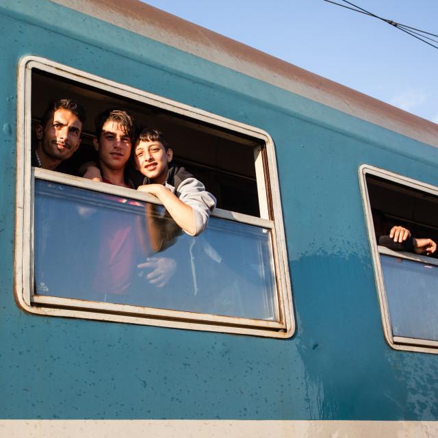 """""""War refugees at the Gyekenyes Railway Station"""" stock image"""