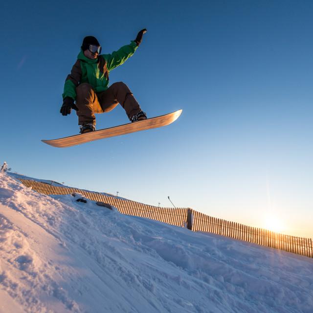 """Snowboarder at jump"" stock image"