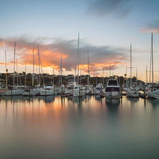 """Dusk over the Westhaven Marina bay"" stock image"
