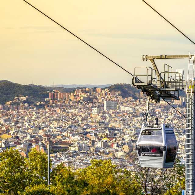 """Cable-car of Montjuic and Sagrada Familia"" stock image"