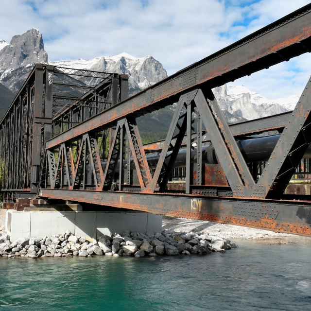 """Old railroad bridge in Canadian Rockies"" stock image"