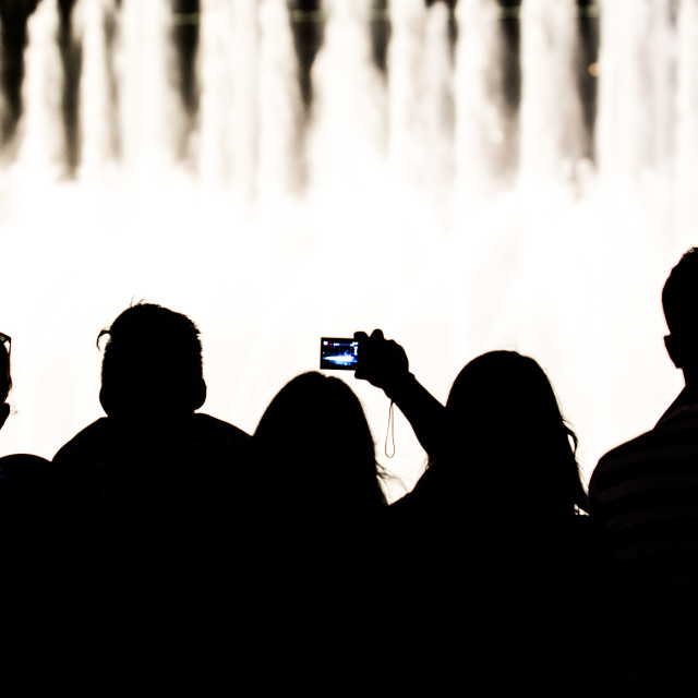 """Silhouette Burj fountain"" stock image"