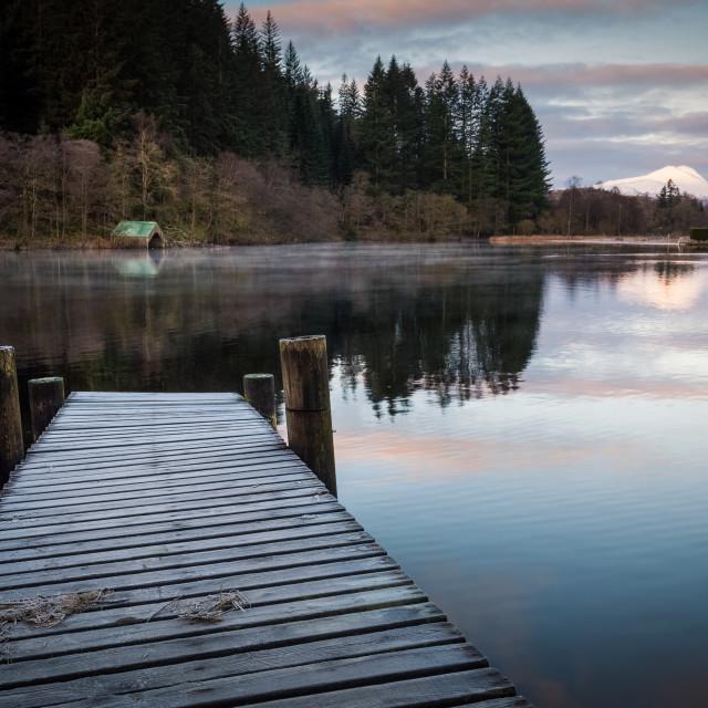 """Frosty jetty on Loch Ard"" stock image"