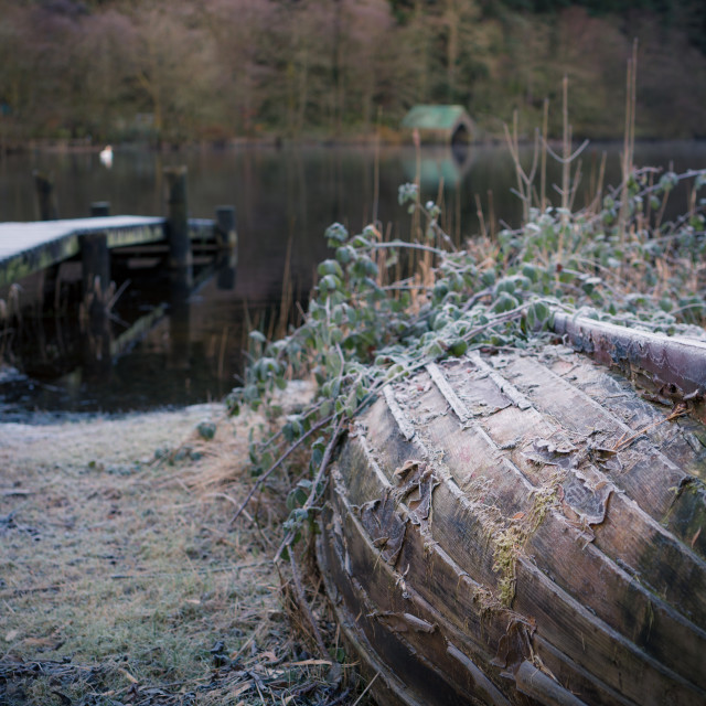 """Frosted boat by Loch Ard"" stock image"