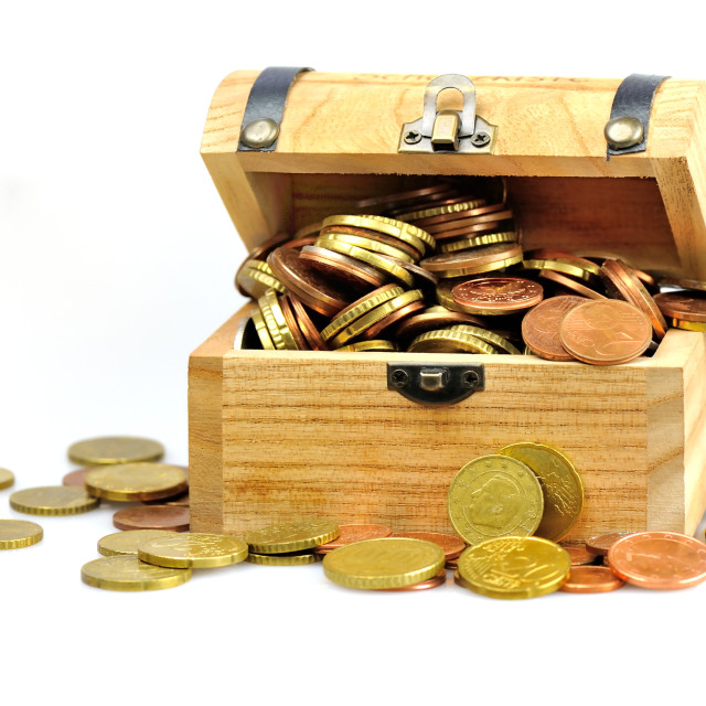 """Treasure chest with coins"" stock image"