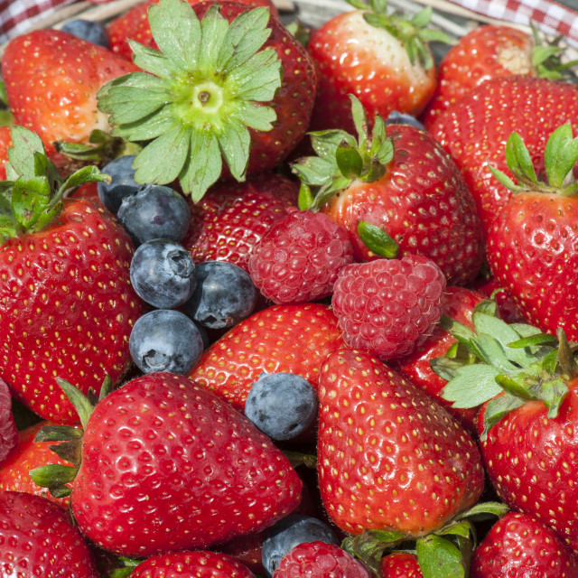 """Strawberries, blueberries, raspberries Mix"" stock image"