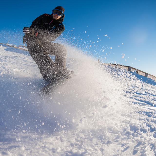 """Snowboard freerider in the mountains"" stock image"