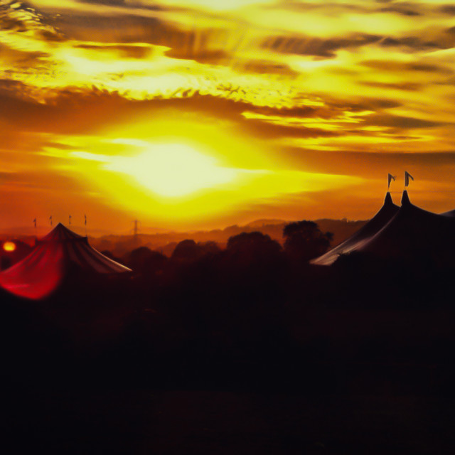 """Glastonbury Festival Sunset"" stock image"