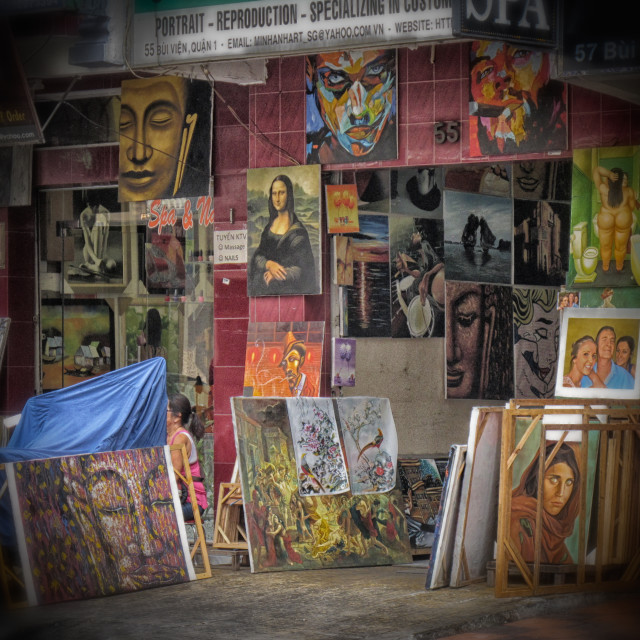 """Reproduction art shop. Vietnam."" stock image"