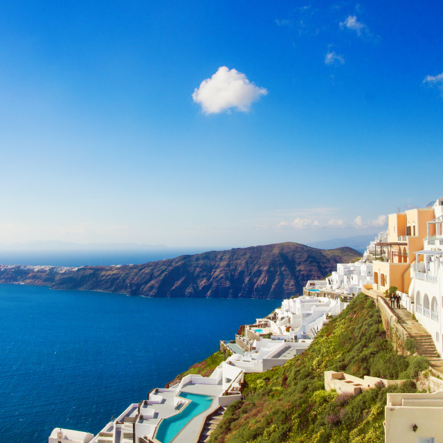 """Luxury houses, Imerovigli, Santorini"" stock image"