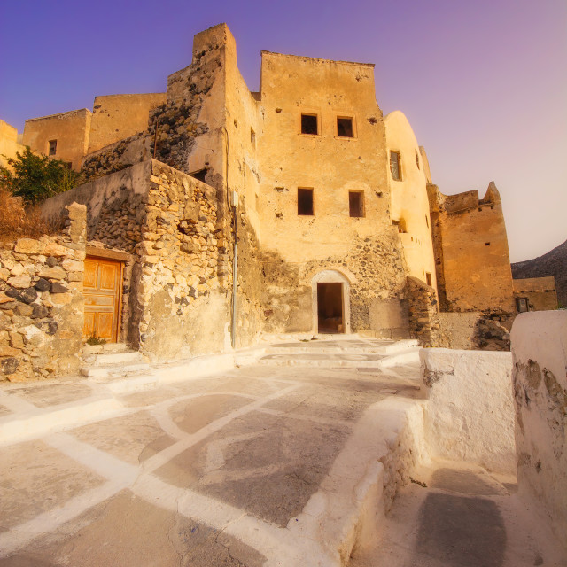 """""""The old Venetian castle ruins in Emporio village at dawn"""" stock image"""