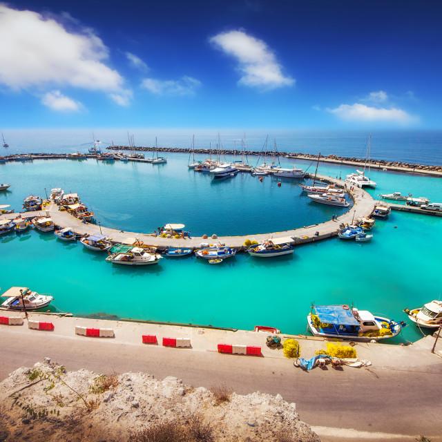 """""""Wide angle shot of Vlychada port on Santorini island, Greece"""" stock image"""