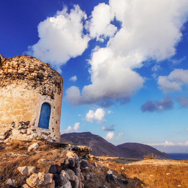 """""""Old windmill ruins on a hill in Santorini island, Greece"""" stock image"""