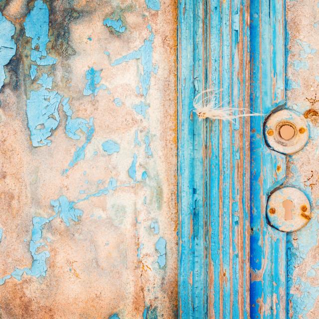 """""""Vintage door handle detail, Emporio village, Santorini"""" stock image"""