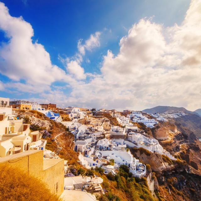 """Oia village in the morning light, Santorini, Greece"" stock image"