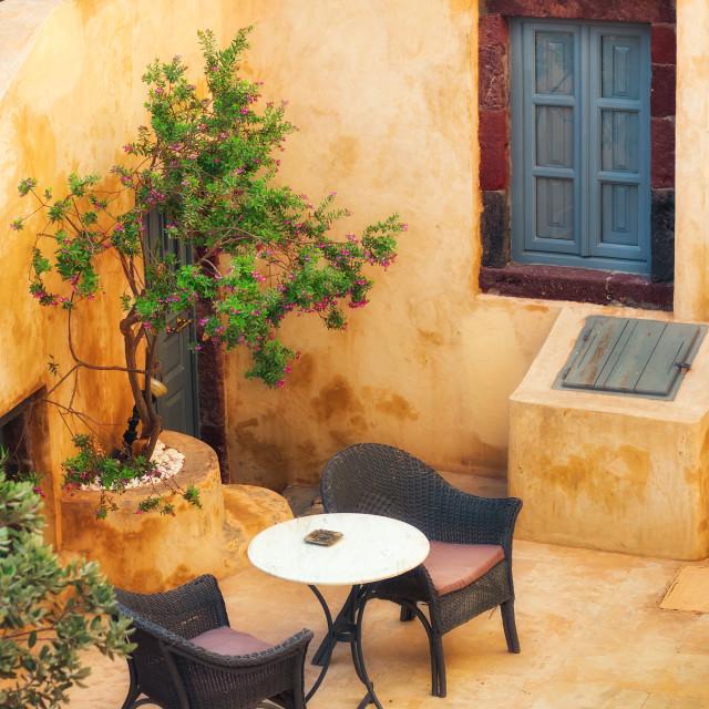 """Generic cafe interior in Pyrgos village, Santorini, Greece"" stock image"
