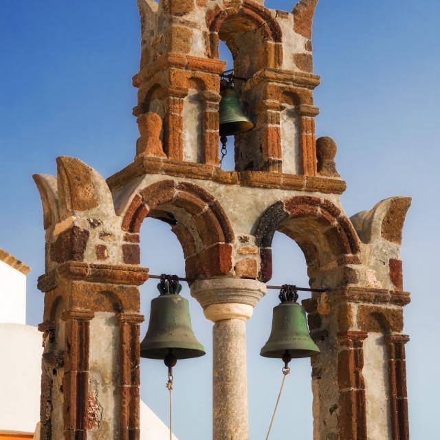 """Belfry details of Saint Nicholas church in Pyrgos village, Santorini"" stock image"
