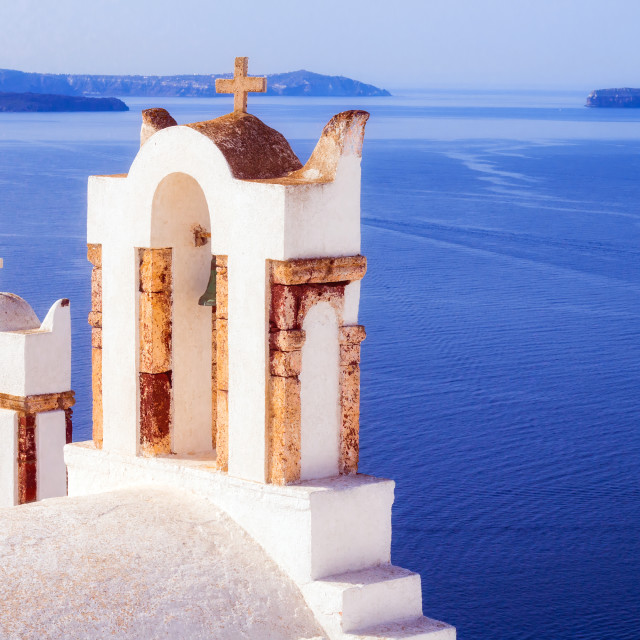 """""""Details of a church in Oia village, Santorini, Greece"""" stock image"""