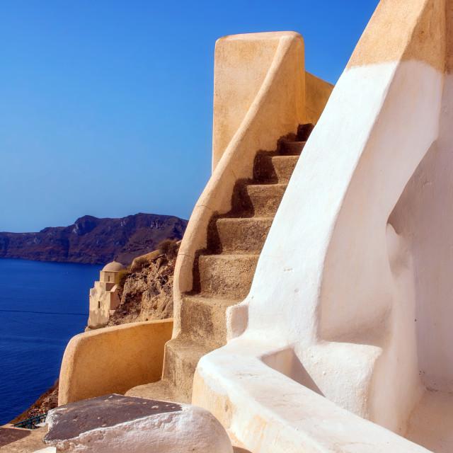 """Stairs in Oia village, Santorini, Greece"" stock image"